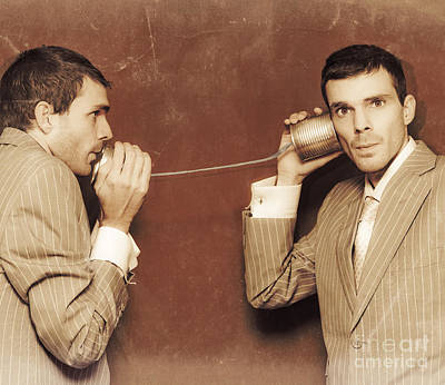 Vintage Business People Talking On Can Telephone Poster by Jorgo Photography - Wall Art Gallery