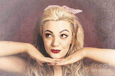 Vintage Face Of Nostalgia. Retro Blond 1940s Girl  Poster by Jorgo Photography - Wall Art Gallery