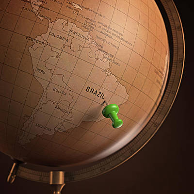 Vintage Globe With A Push Pin Poster by Ktsdesign