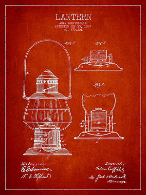 Vintage Lantern Patent Drawing From 1887 Poster by Aged Pixel