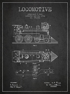 Vintage Locomotive Patent From 1904 Poster by Aged Pixel