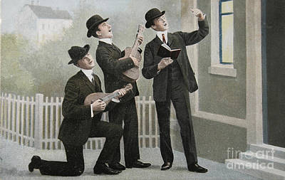 Vintage Postcard With Three Men Bringing An Aubade Poster by Patricia Hofmeester