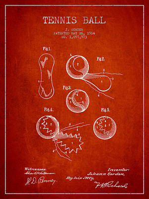 Vintage Tennnis Ball Patent Drawing From 1914 Poster by Aged Pixel