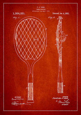 Vintage Tennnis Racketl Patent Drawing From 1921 Poster by Aged Pixel