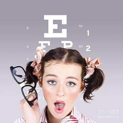 Vision Impaired Woman At Optometrist Poster by Jorgo Photography - Wall Art Gallery