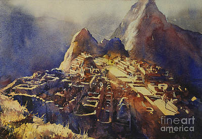 Watercolor Painting Machu Picchu Peru Poster by Ryan Fox