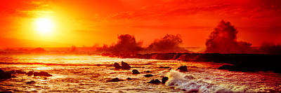 Waves Breaking On Rocks In The Ocean Poster by Panoramic Images