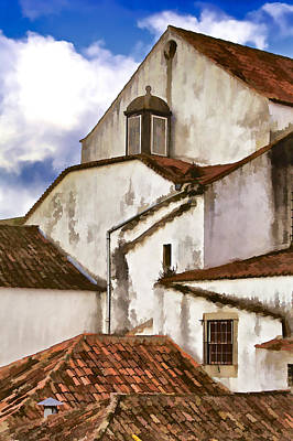Weathered Buildings Of The Medieval Village Of Obidos Poster by David Letts