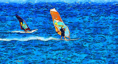 Windsurfing Poster by George Rossidis