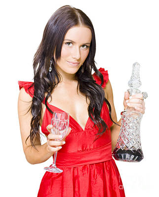 Winery Woman With Red Wine Glass And Decanter Poster by Jorgo Photography - Wall Art Gallery