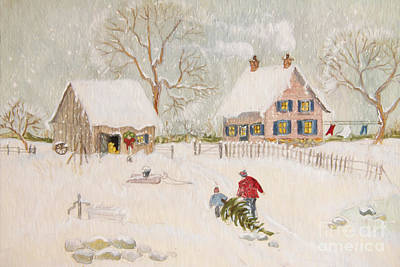 Winter Scene Of A Farm With People/ Digitally Altered Poster by Sandra Cunningham