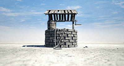 Wishing Well With Wooden Bucket On A Barren Landscape Poster by Allan Swart