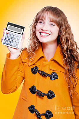 Woman Grinning With Glee Holding Calculator Poster by Jorgo Photography - Wall Art Gallery