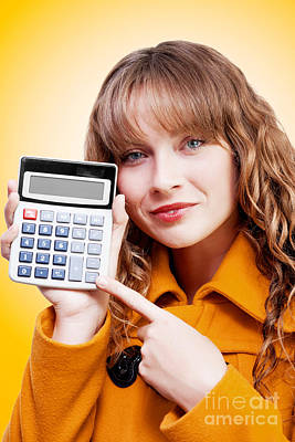 Woman Pointing To Calculator Keypad Poster by Jorgo Photography - Wall Art Gallery