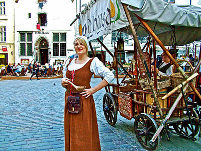 Woman Selling Sweetened Almonds In Old Town Tallinn-estonia Poster by Ruth Hager