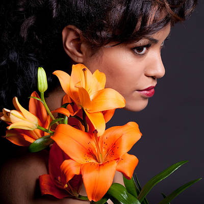 Woman With Lily Flowers Poster by Artur Bogacki