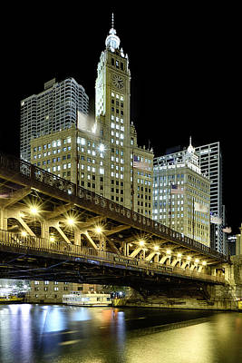 Wrigley Building At Night Poster by Sebastian Musial