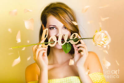 Young Beautiful Woman Expressing Feelings Of Love Poster by Jorgo Photography - Wall Art Gallery