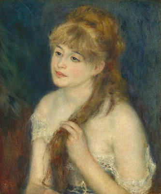 Young Woman Braiding Her Hair Poster by Auguste Renoir