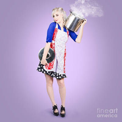 Young Woman Cooking Healthy Food In Stock Pot Poster by Jorgo Photography - Wall Art Gallery