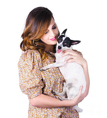 Young Woman Holding Dog Poster by Jorgo Photography - Wall Art Gallery