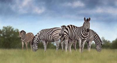 Zebras Painting Poster by Rachel Stribbling
