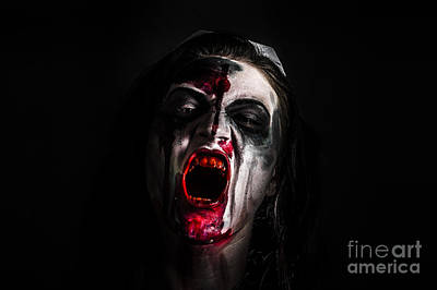 Zombie Girl Screaming Out In The Darkness Poster by Jorgo Photography - Wall Art Gallery