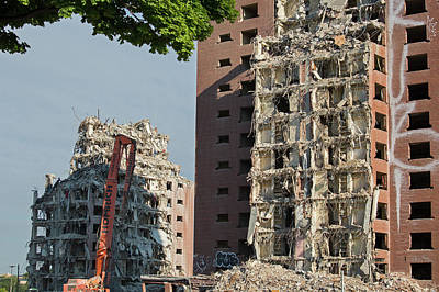 Demolition Of Detroit Housing Towers Poster by Jim West