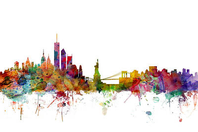 New York Skyline Poster by Michael Tompsett