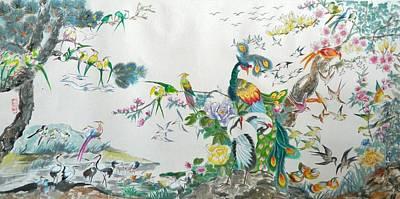 100 Birds Poster by Min Wang