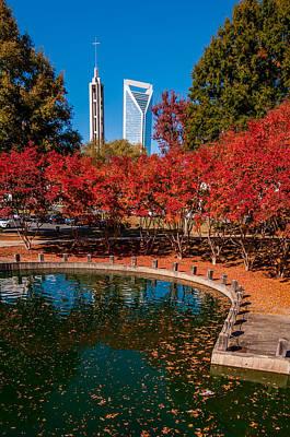Charlotte City Skyline Autumn Season Poster by Alex Grichenko