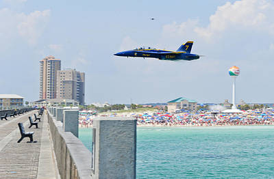 Blue Angels On Pensacola Beach Poster by Specialist 2nd Class Andrea Perez
