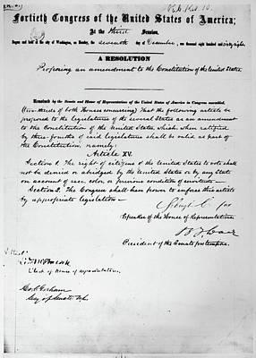 15th Amendment, 1868 Poster by Granger