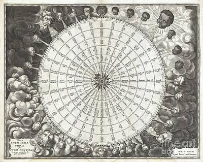 1650 Jansson Wind Rose Anemographic Chart Or Map Of The Winds Poster by Paul Fearn