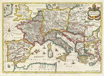 1657 Jansson Map Of The Empire Of Charlemagne Poster by Paul Fearn