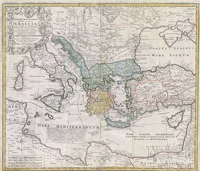 1741 Homann Heirs Map Of Ancient Greece  The Eastern Mediterranean Poster by Paul Fearn