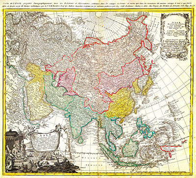 1744 Homann Heirs Map Of Asia Geographicus Asia Homannheirs 1744 Poster by MotionAge Designs