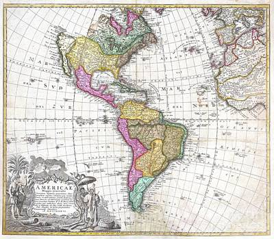1746 Homann Heirs Map Of South And North America Poster by Paul Fearn