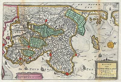 1747 La Feuille Map Of Northern Holland Poster by Paul Fearn