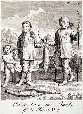 1748 Tribal Ostiaks With Sturgeon Fish Poster by Paul D Stewart