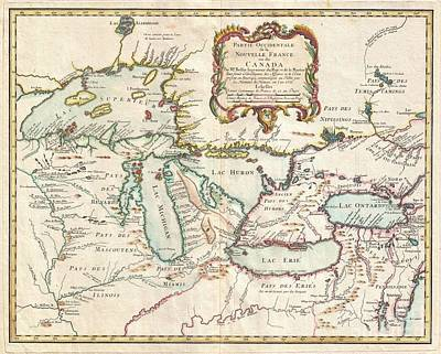 1755 Bellin Map Of The Great Lakes Poster by Paul Fearn