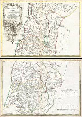 1763 De Lisle Map Of The Holy Land Poster by Paul Fearn
