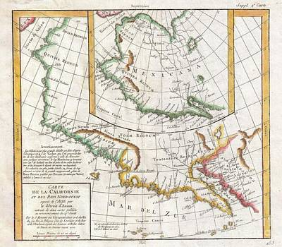 1772 Vaugondy  Diderot Map Of California And Alaska  Anian And Quivira  Poster by Paul Fearn