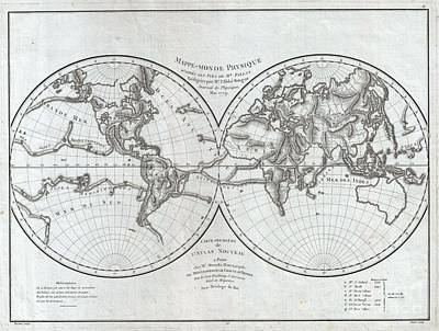 1779 Pallas And Mentelle Map Of The Physical World  Poster by Paul Fearn