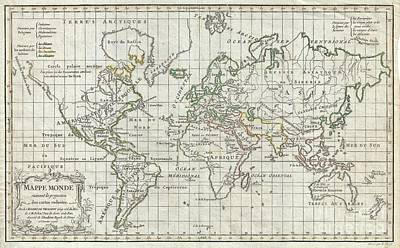 1784 Vaugondy Map Of The World On Mercator Projection Poster by Paul Fearn