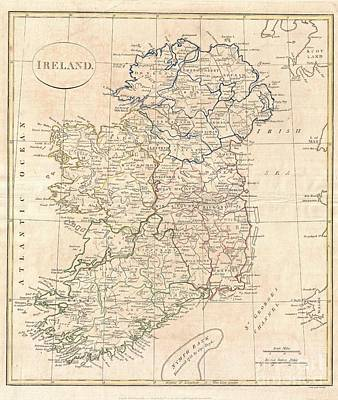 1799 Clement Cruttwell Map Of Ireland Poster by Paul Fearn