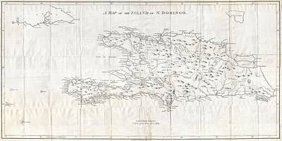 1800 Stockdale Map Of Hispaniola Or Santo Domingo West Indies Haiti Dominican Republic Poster by Paul Fearn
