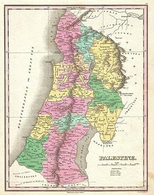1827 Finley Map Of Israel  Palestine Holy Land Poster by Paul Fearn