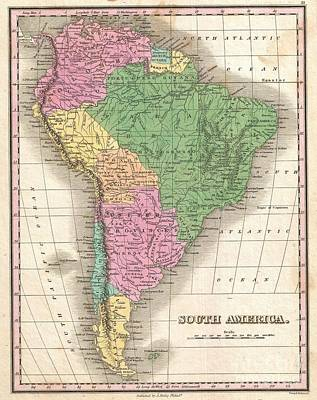 1827 Finley Map Of South America Poster by Paul Fearn