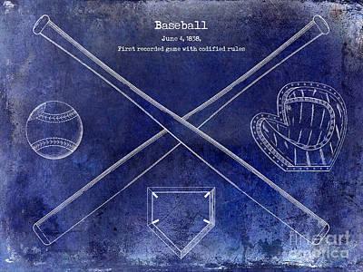 1838 Baseball Drawing Blue Poster by Jon Neidert